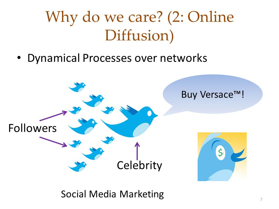 Tweets Diffusion: Problem Definition Given: – Action log of people tweeting a #hashtag – A network of users Find: – How external influence varies with #hashtags.