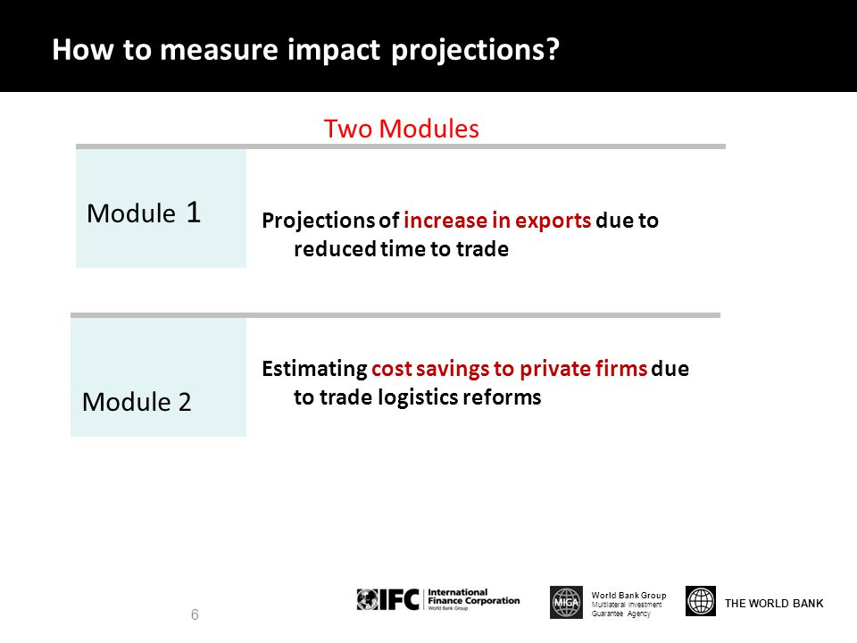 THE WORLD BANK World Bank Group Multilateral Investment Guarantee Agency 6 How to measure impact projections.