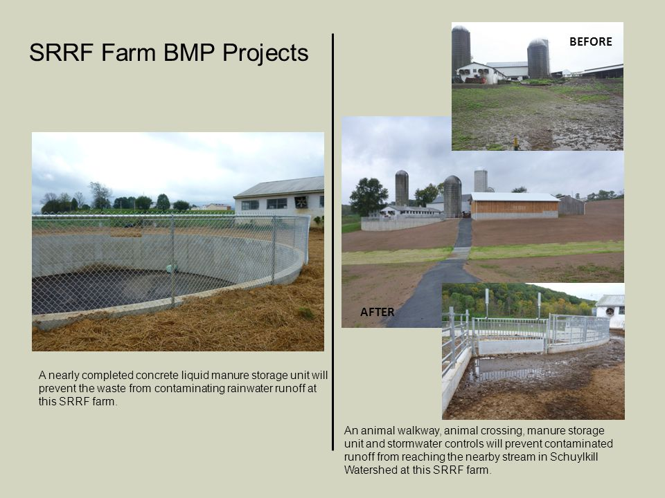 A nearly completed concrete liquid manure storage unit will prevent the waste from contaminating rainwater runoff at this SRRF farm.