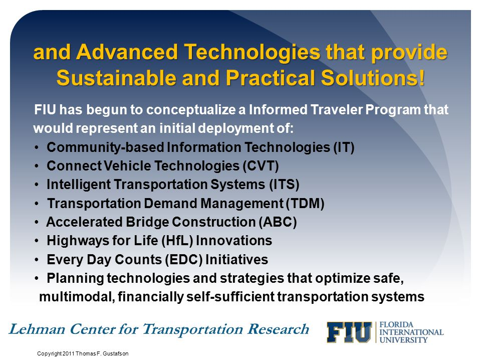 and Advanced Technologies that provide Sustainable and Practical Solutions.