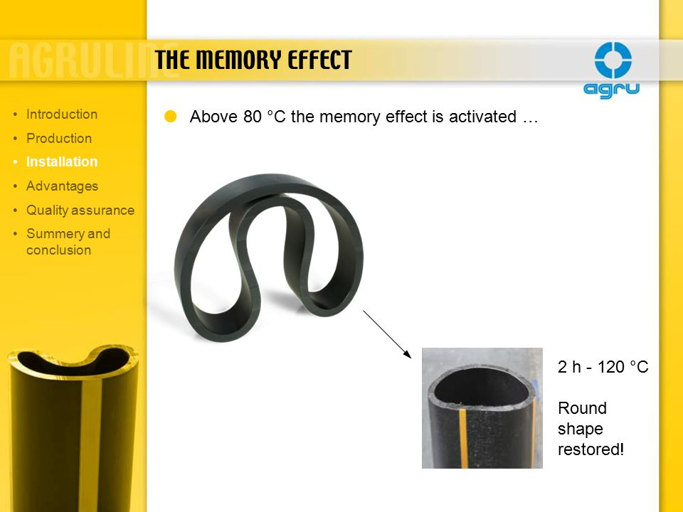 THE MEMORY EFFECT  Above 80 °C the memory effect is activated … 2 h - 120 °C Round shape restored.