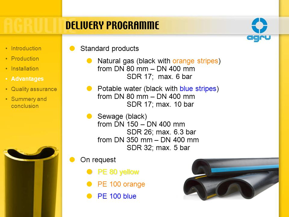 DELIVERY PROGRAMME  Standard products  Natural gas (black with orange stripes) from DN 80 mm – DN 400 mm SDR 17; max.