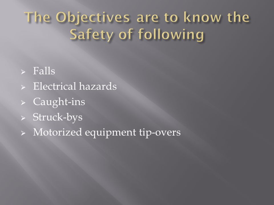  Falls  Electrical hazards  Caught-ins  Struck-bys  Motorized equipment tip-overs