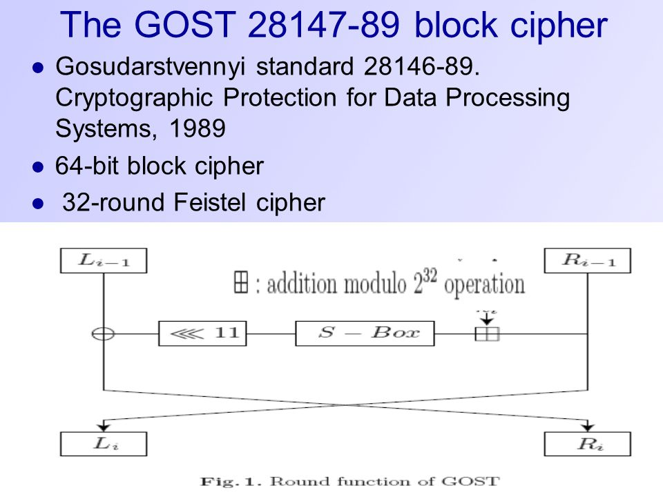 The GOST 28147-89 block cipher ●Gosudarstvennyi standard 28146-89.
