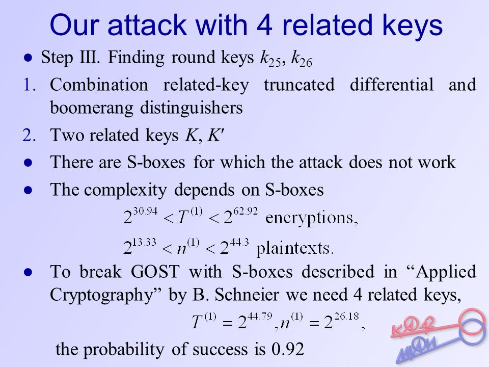 Our attack with 2 related keys ● Step I.Finding round keys k 32, k 31,…, k 27.