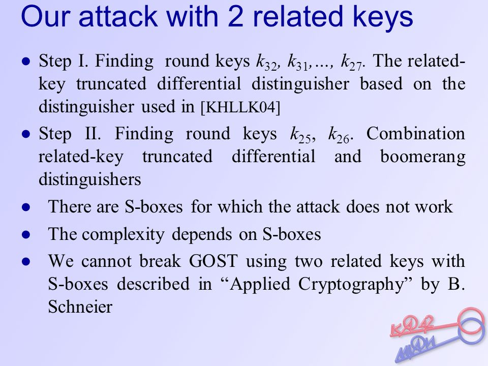 Our attack with 2 related keys ● Step I. Finding round keys k 32, k 31,…, k 27.