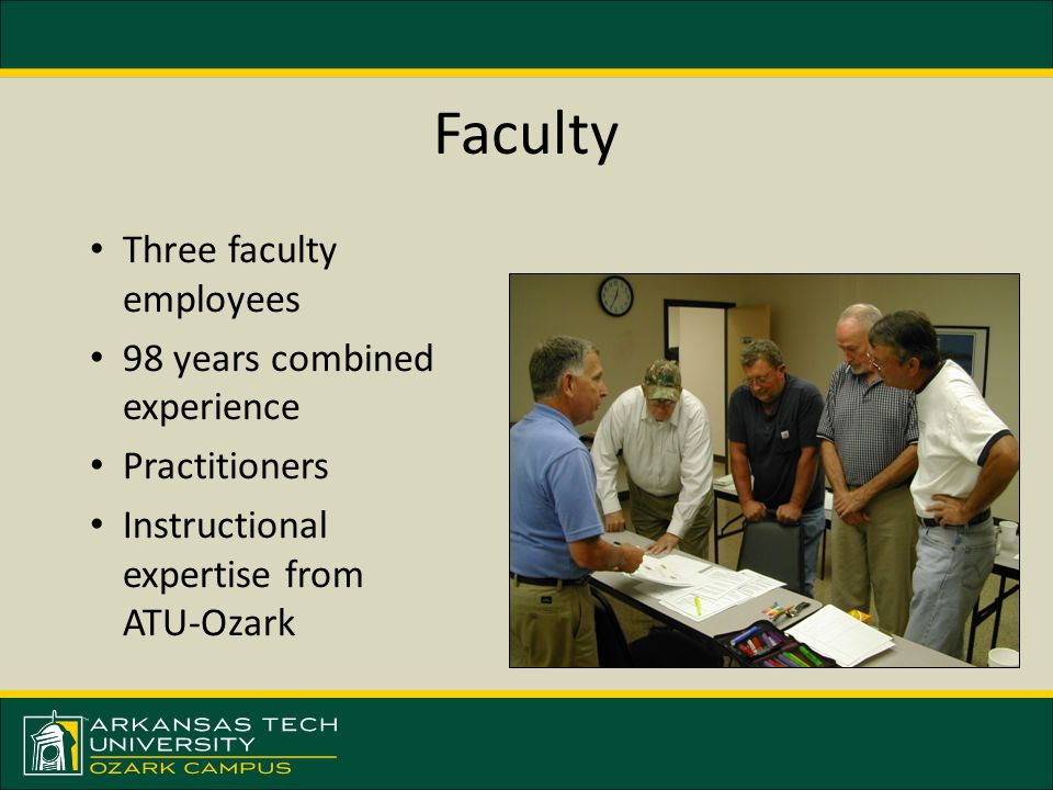 Faculty Three faculty employees 98 years combined experience Practitioners Instructional expertise from ATU-Ozark