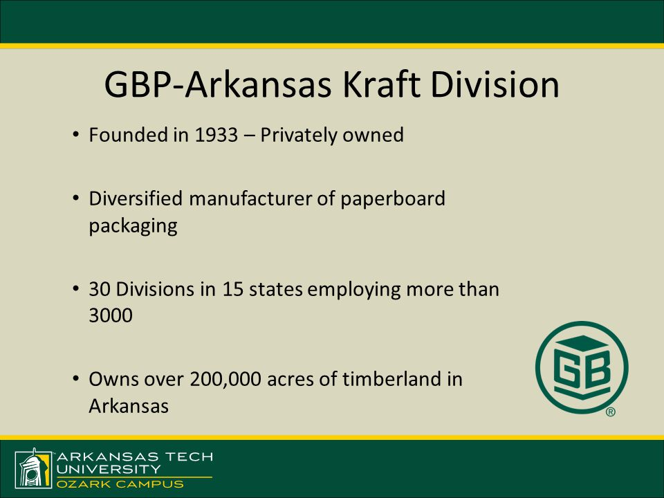 GBP-Arkansas Kraft Division Founded in 1933 – Privately owned Diversified manufacturer of paperboard packaging 30 Divisions in 15 states employing more than 3000 Owns over 200,000 acres of timberland in Arkansas
