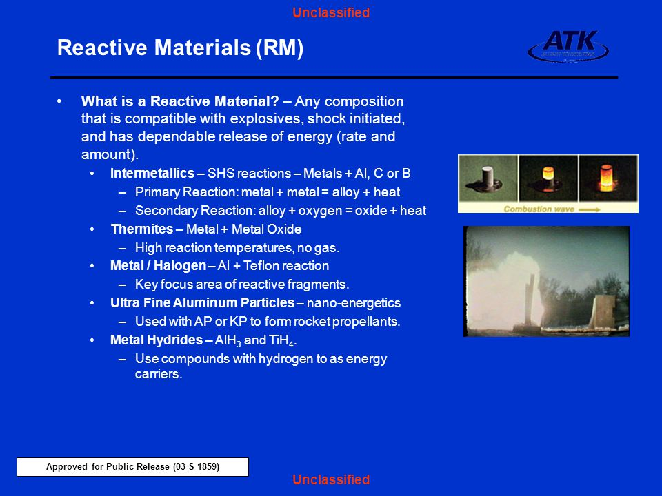 Approved for Public Release (03-S-1859) Unclassified Reactive Materials (RM) What is a Reactive Material.
