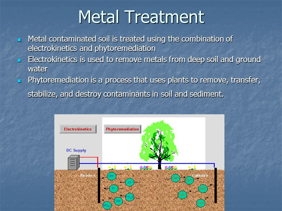 Metal Treatment Metal contaminated soil is treated using the combination of electrokinetics and phytoremediation Metal contaminated soil is treated using the combination of electrokinetics and phytoremediation Electrokinetics is used to remove metals from deep soil and ground water Electrokinetics is used to remove metals from deep soil and ground water Phytoremediation is a process that uses plants to remove, transfer, stabilize, and destroy contaminants in soil and sediment.