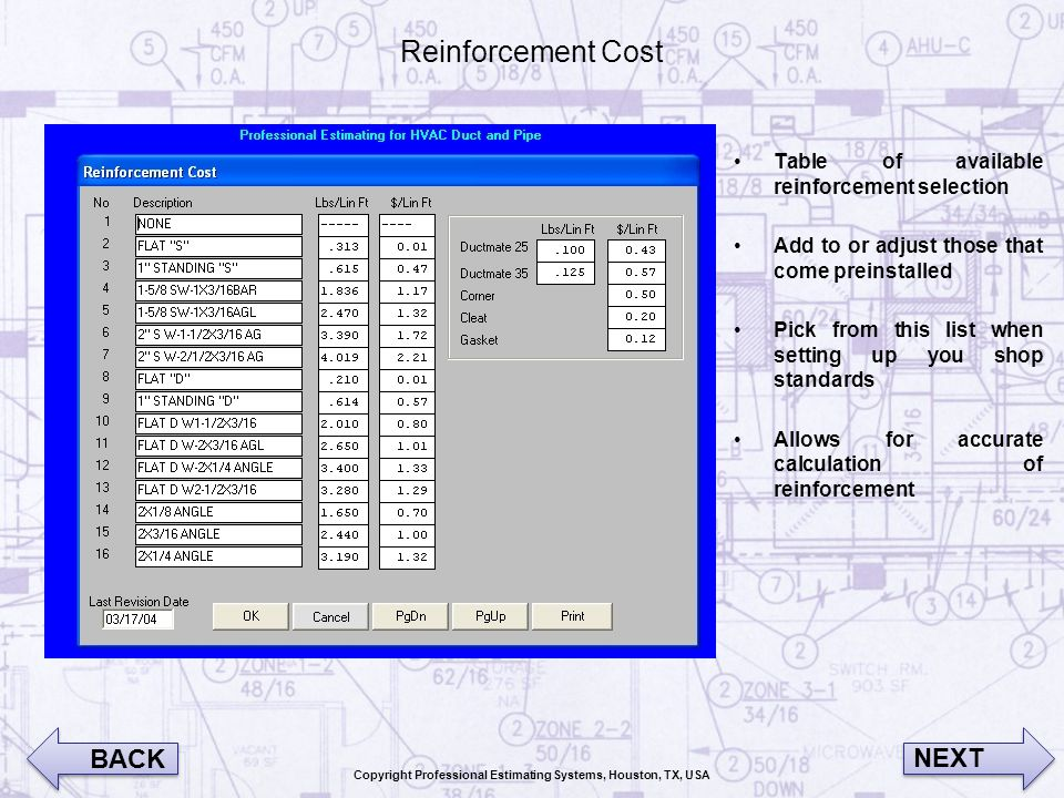 Reinforcement Cost Table of available reinforcement selection Add to or adjust those that come preinstalled Pick from this list when setting up you sh