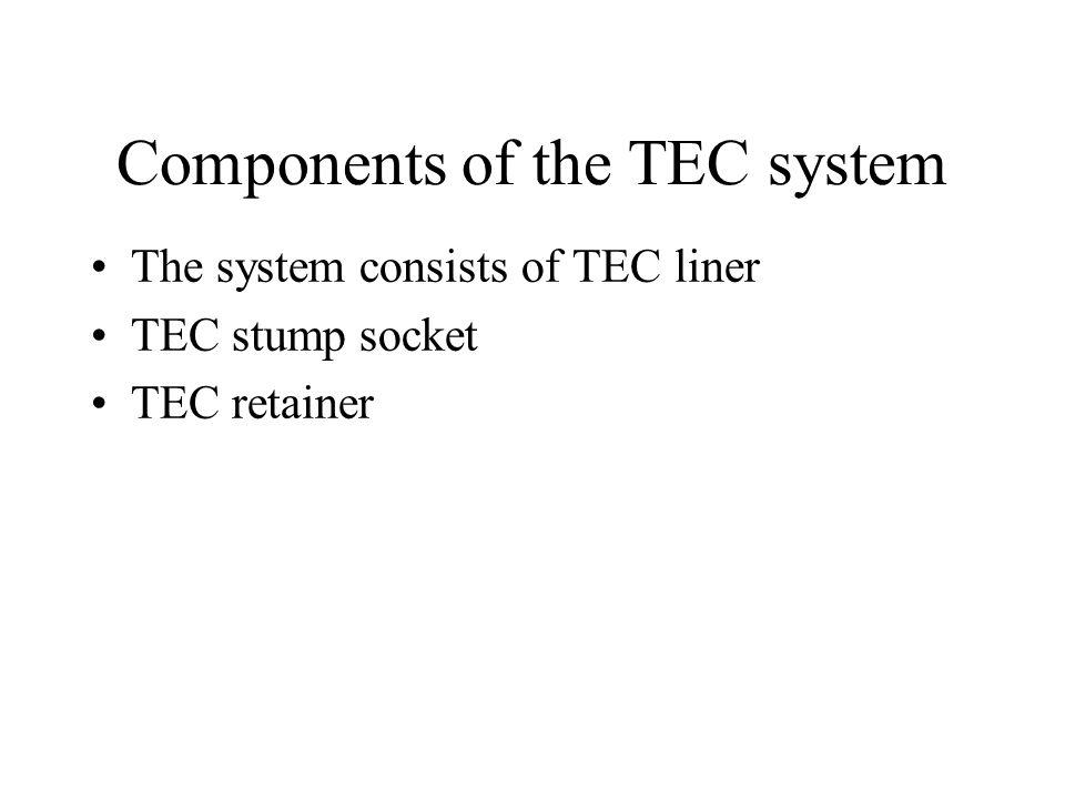 Components of the TEC system The system consists of TEC liner TEC stump socket TEC retainer