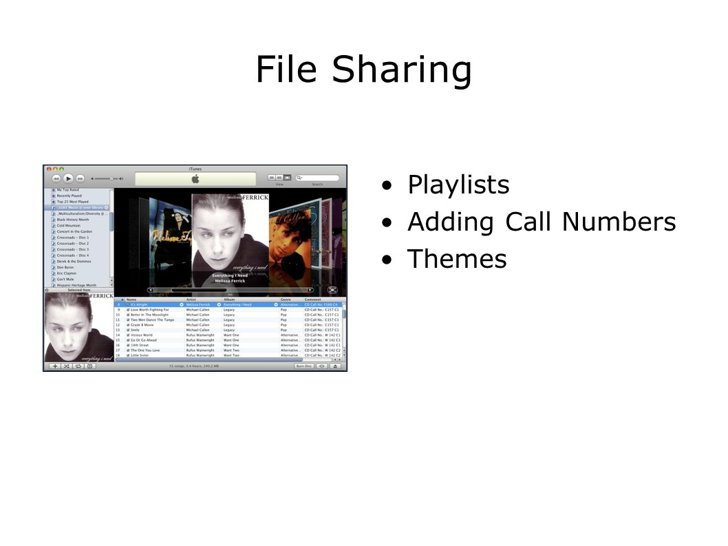 File Sharing Playlists Adding Call Numbers Themes
