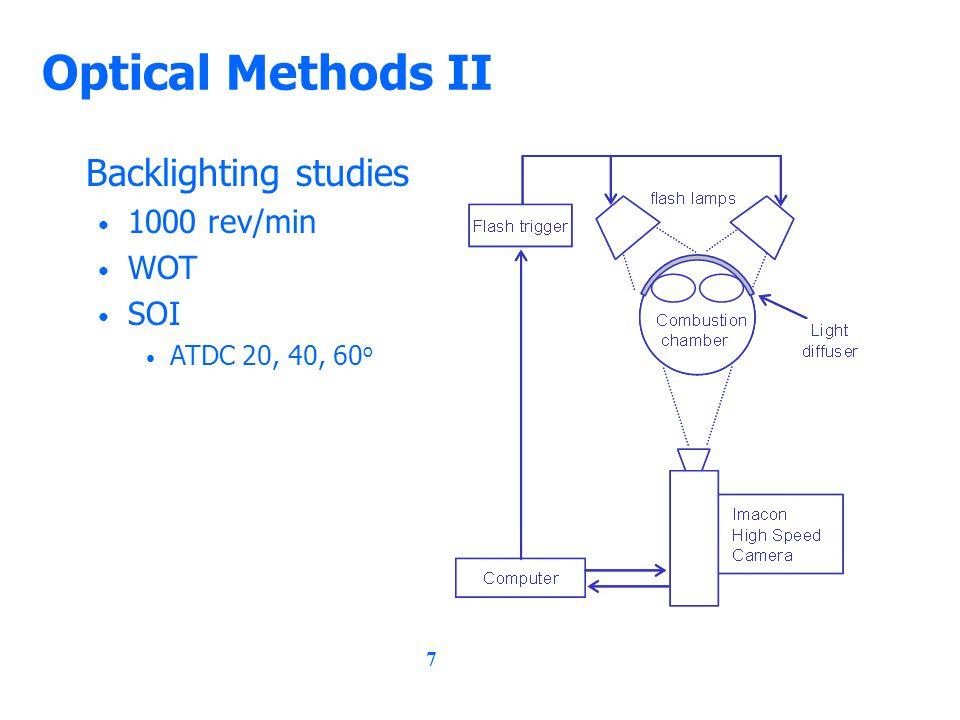 7 Optical Methods II Backlighting studies 1000 rev/min WOT SOI ATDC 20, 40, 60 o