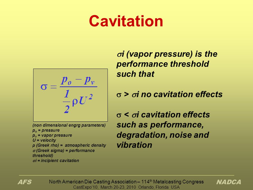 North American Die Casting Association – 114 th Metalcasting Congress CastExpo'10, March 20-23, 2010 Orlando, Florida USA Physics of Cavitation Any device handling liquid is subject to cavitation Local pressure that falls below saturated vapor pressure causes cavitation to occur Resulting vapor cavities (void bubbles) collapse on surface material with high energy and heat Inertial cavitation is commonly destructive