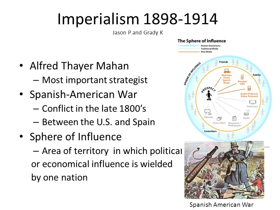 Imperialism 1898-1914 Jason P and Grady K Alfred Thayer Mahan – Most important strategist Spanish-American War – Conflict in the late 1800's – Between the U.S.