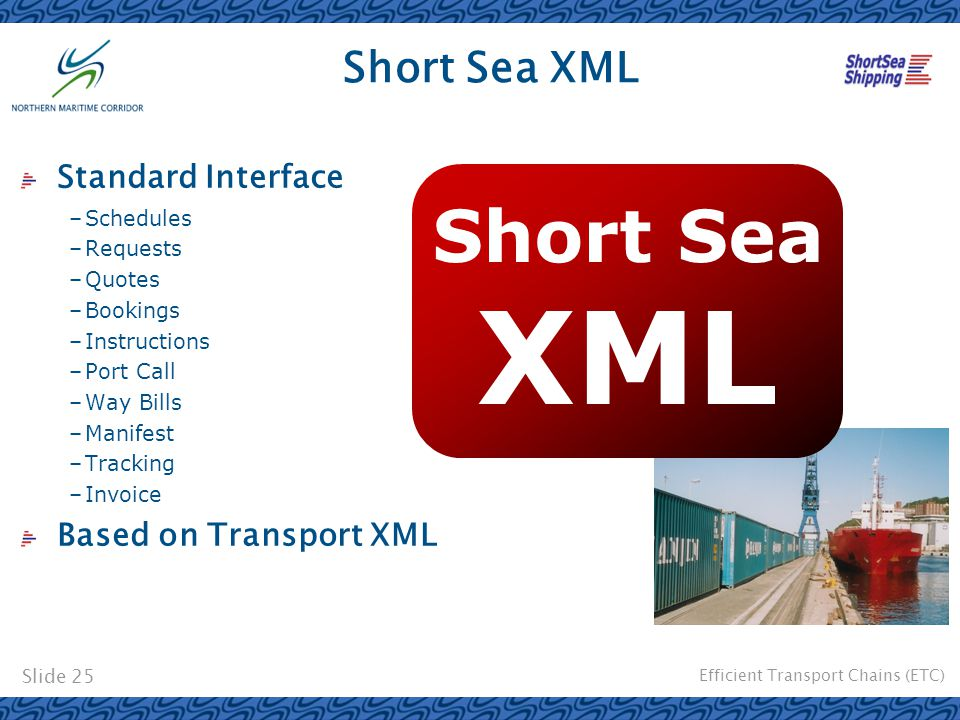 Efficient Transport Chains (ETC) Slide 25 Short Sea XML Standard Interface –Schedules –Requests –Quotes –Bookings –Instructions –Port Call –Way Bills –Manifest –Tracking –Invoice Based on Transport XML Short Sea XML