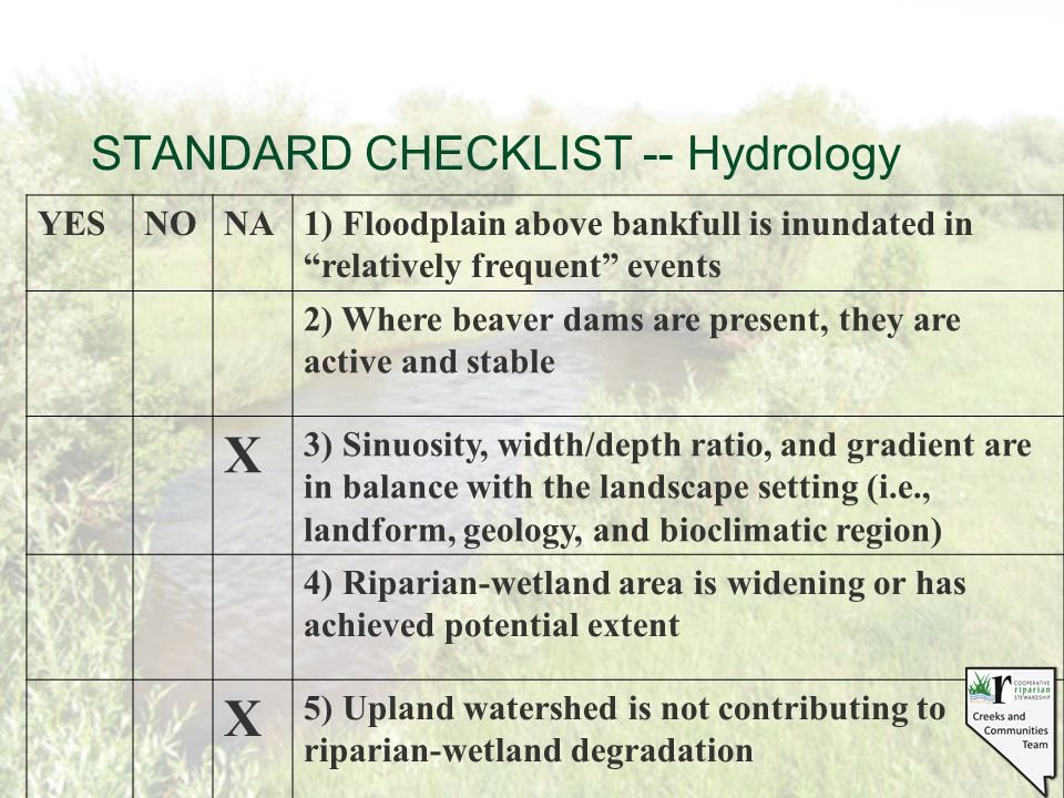 "STANDARD CHECKLIST -- Hydrology YESNONA1) Floodplain above bankfull is inundated in ""relatively frequent"" events 2) Where beaver dams are present, the"