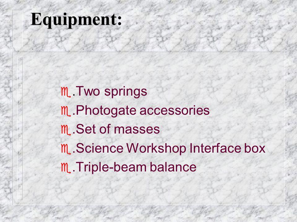 Equipment Equipment: e.Two springs e.Photogate accessories e.Set of masses e.Science Workshop Interface box .Triple-beam balance