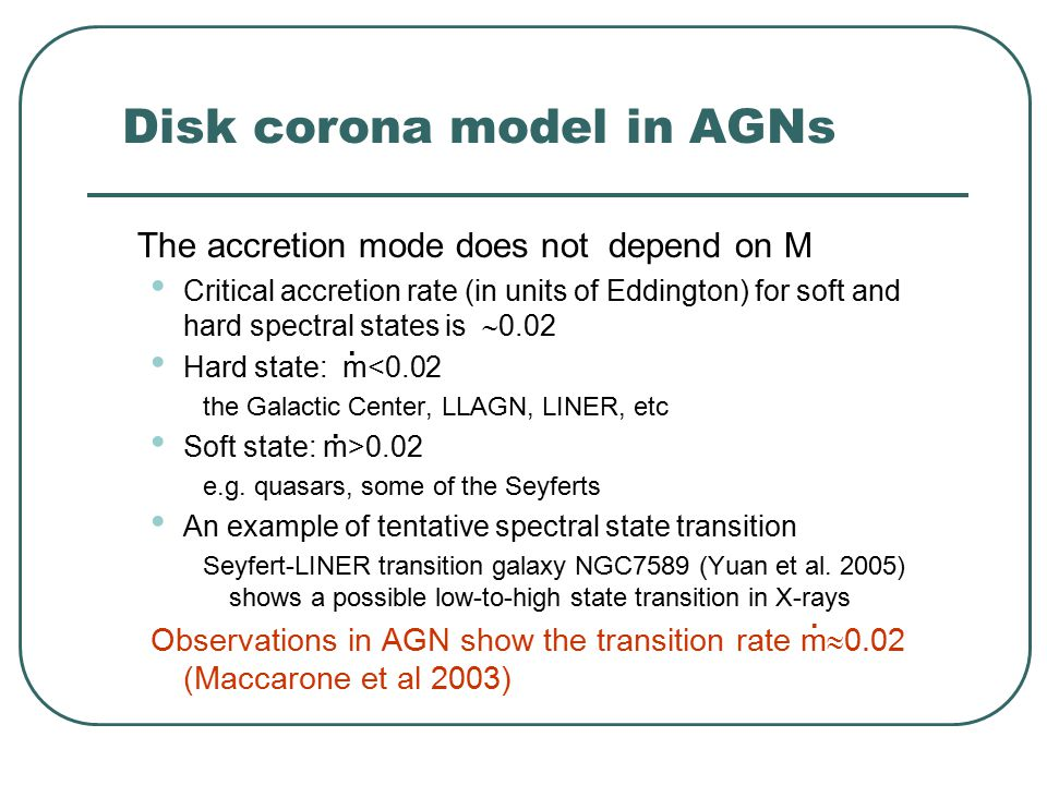 Disk corona model in AGNs The accretion mode does not depend on M Critical accretion rate (in units of Eddington) for soft and hard spectral states is  0.02 Hard state: m<0.02 the Galactic Center, LLAGN, LINER, etc Soft state: m>0.02 e.g.