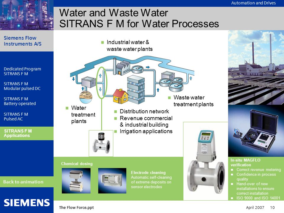 Automation and Drives Siemens Flow Instruments A/S The Flow Force.ppt April 2007 10 Dedicated Program SITRANS F M Modular pulsed DC SITRANS F M Battery operated SITRANS F M Pulsed AC SITRANS F M Applications Back to animation Water and Waste Water SITRANS F M for Water Processes In-situ MAGFLO verification Correct revenue metering Confidence in process quality Hand-over of new installations to ensure correct installation ISO 9000 and ISO 14001 Water treatment plants Distribution network Revenue commercial & industrial building Irrigation applications Industrial water & waste water plants Waste water treatment plants Chemical dosing Electrode cleaning Automatic self-cleaning of extreme deposits on sensor electrodes SITRANS F M Applications