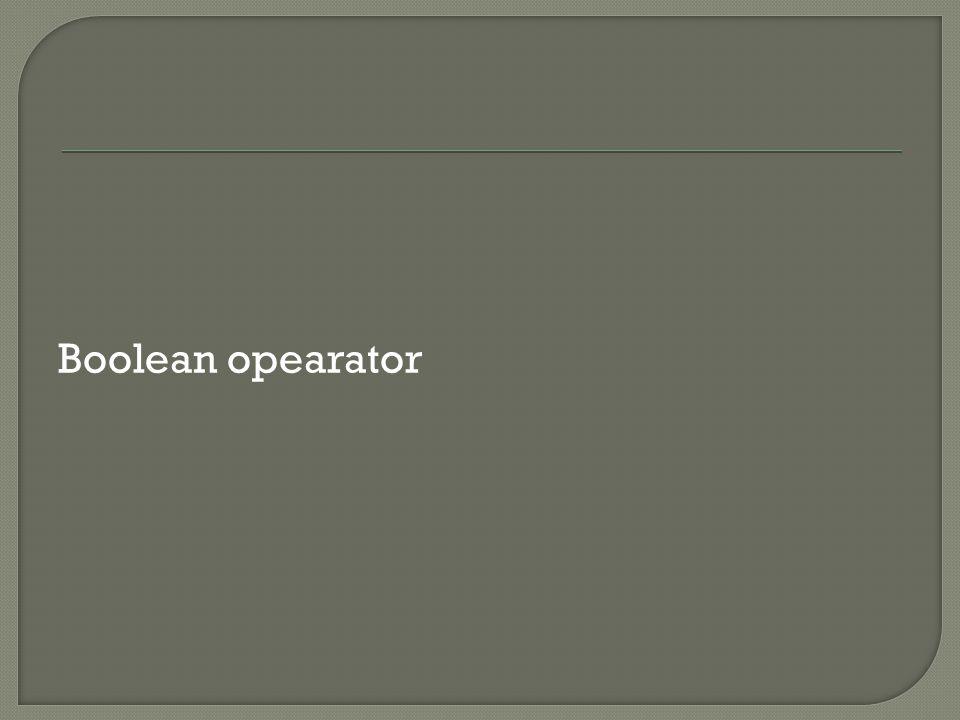 Boolean opearator