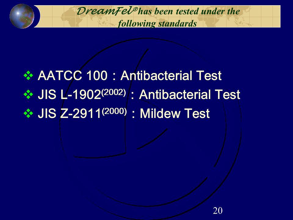 20 DreamFel® has been tested under the following standards  AATCC 100 : Antibacterial Test  JIS L-1902 (2002) : Antibacterial Test  JIS Z-2911 (2000) : Mildew Test