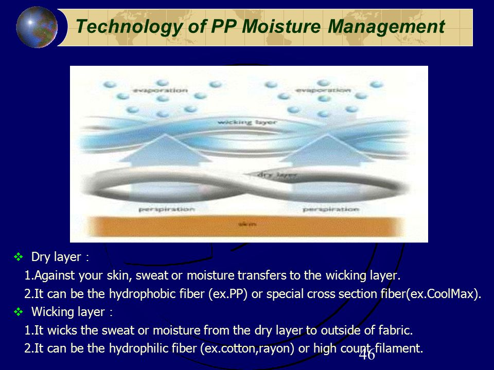 46 Technology of PP Moisture Management  Dry layer : 1.Against your skin, sweat or moisture transfers to the wicking layer. 2.It can be the hydrophob