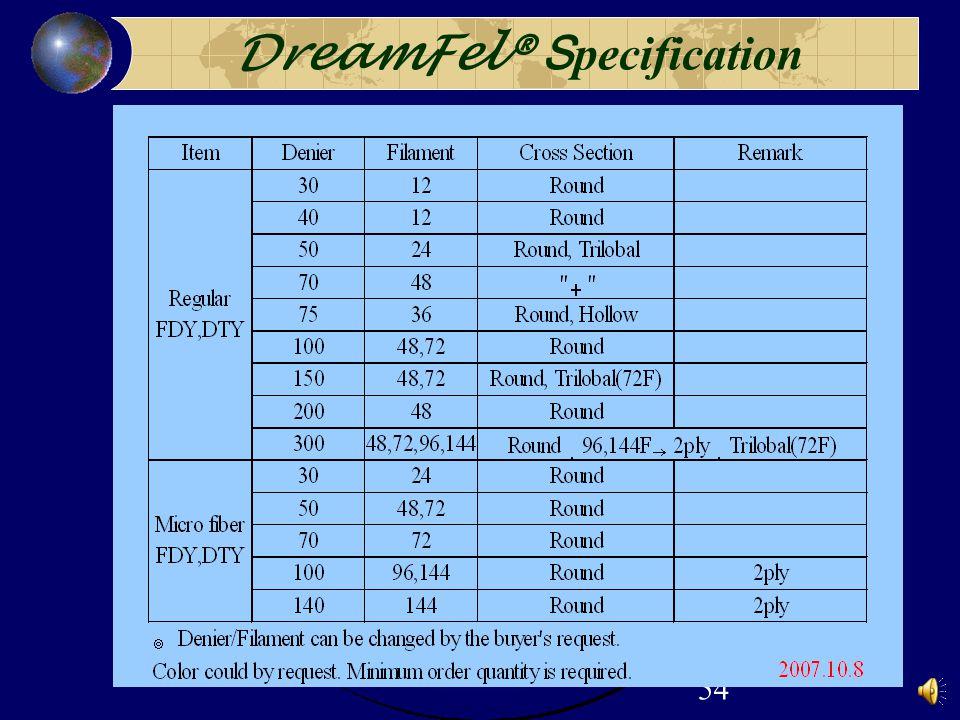54 DreamFel® S pecification