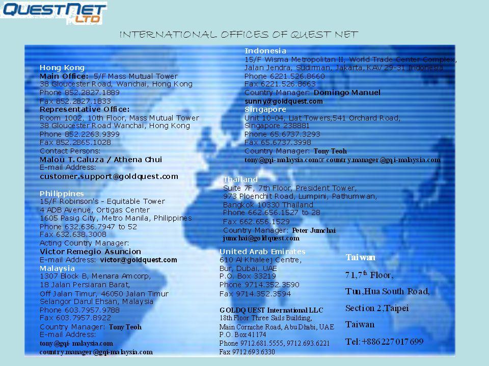 INTERNATIONAL OFFICES OF QUEST NET