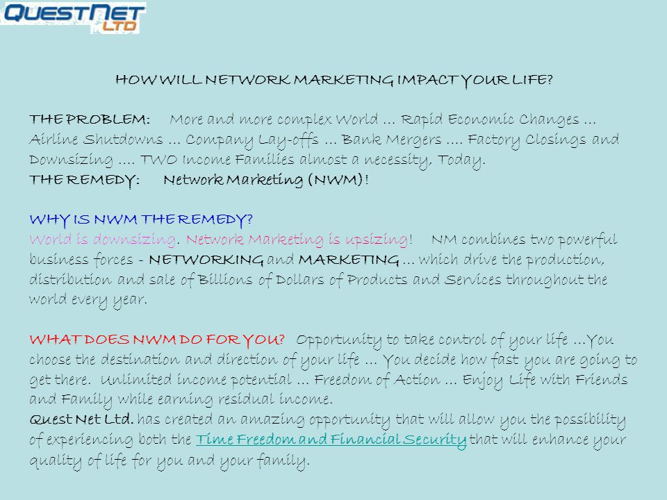 HOW WILL NETWORK MARKETING IMPACT YOUR LIFE.
