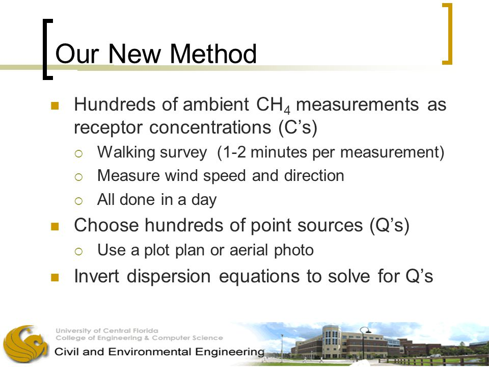 Our New Method Hundreds of ambient CH 4 measurements as receptor concentrations (C's)  Walking survey (1-2 minutes per measurement)  Measure wind speed and direction  All done in a day Choose hundreds of point sources (Q's)  Use a plot plan or aerial photo Invert dispersion equations to solve for Q's