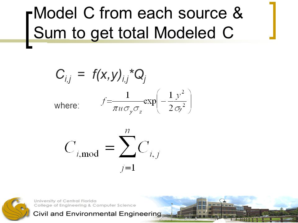 Model C from each source & Sum to get total Modeled C C i,j = f(x,y) i,j *Q j where: