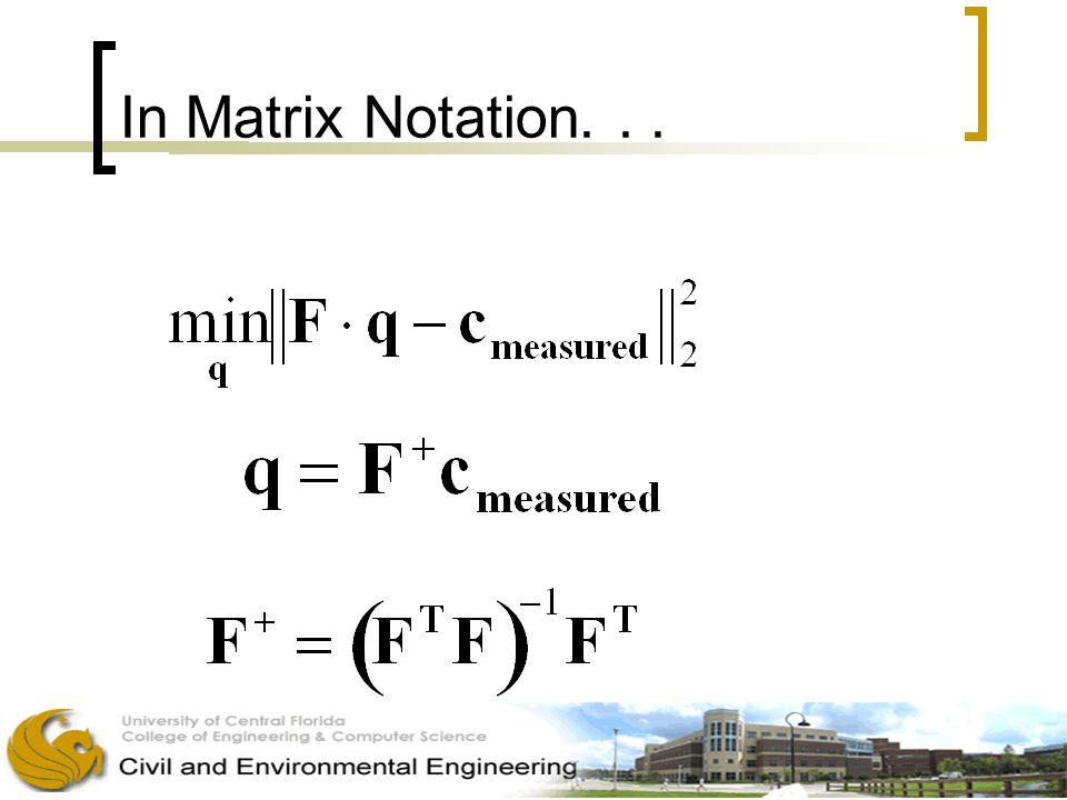 In Matrix Notation...