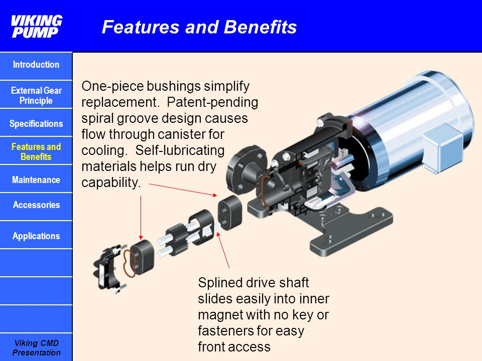 Viking CMD Presentation Features and Benefits Splined drive shaft slides easily into inner magnet with no key or fasteners for easy front access One-p