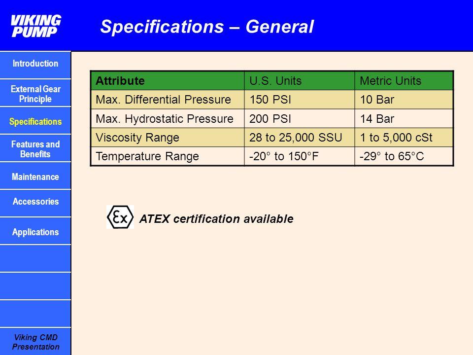 Viking CMD Presentation AttributeU.S. UnitsMetric Units Max. Differential Pressure150 PSI10 Bar Max. Hydrostatic Pressure200 PSI14 Bar Viscosity Range