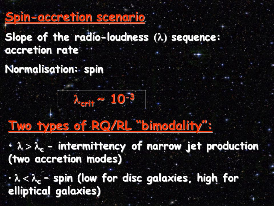 Two types of RQ/RL bimodality :  c - intermittency of narrow jet production (two accretion modes)  c - intermittency of narrow jet production (two accretion modes)  c – spin (low for disc galaxies, high for elliptical galaxies) Spin-accretion scenario Slope of the radio-loudness  sequence: accretion rate Normalisation: spin  crit  ~ 10 -3