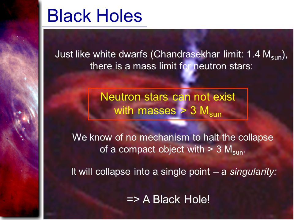 Black Holes Just like white dwarfs (Chandrasekhar limit: 1.4 M sun ), there is a mass limit for neutron stars: Neutron stars can not exist with masses > 3 M sun We know of no mechanism to halt the collapse of a compact object with > 3 M sun.