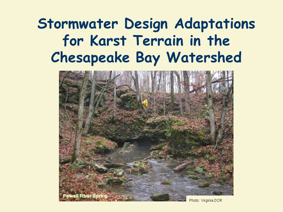 Special Thanks for the Karst Working Group Chris Anderson, Page County, VA Twila Carr, West Virginia DEP Bob Denton, Potomac Environmental Services Tom Devilbiss, Carroll County, MD Mike Eller, EPA Region 3 Jim Lawrence, Virginia Tech Wil Orndorff, Virginia DCR Alana Hartman, WV DEP Michael Schwartz, Freshwater Institute Wayne Webb, Winchester VA Sherry Wilkins, WV DEP