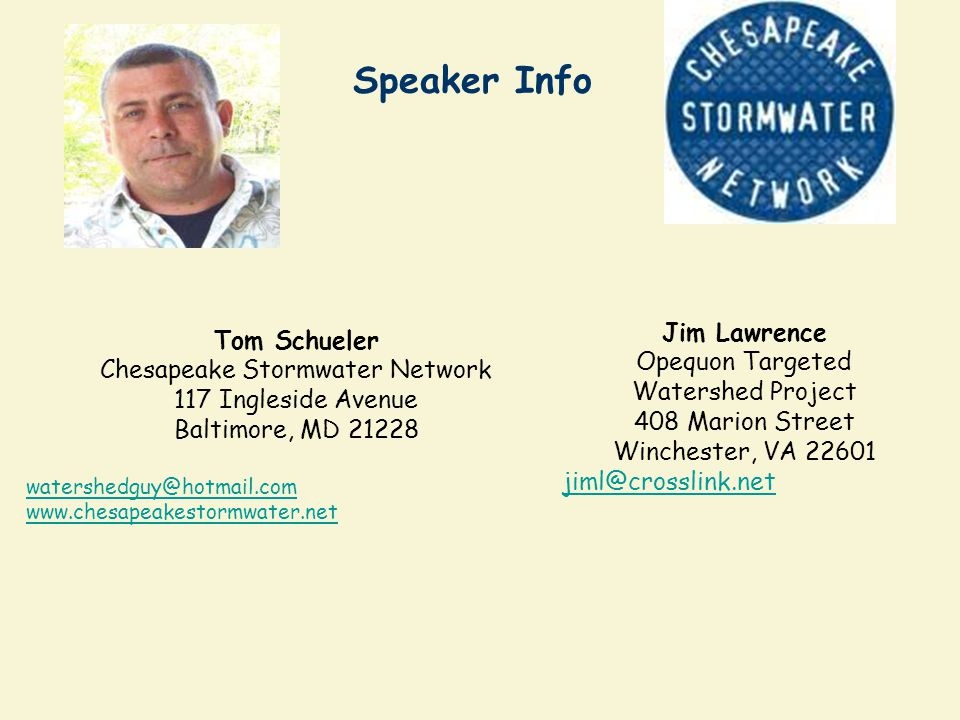 Webcast Archive We will archive the webcast in a few weeks where it can be accessed at the Chesapeake Bay Stormwater Training Partnership website at w