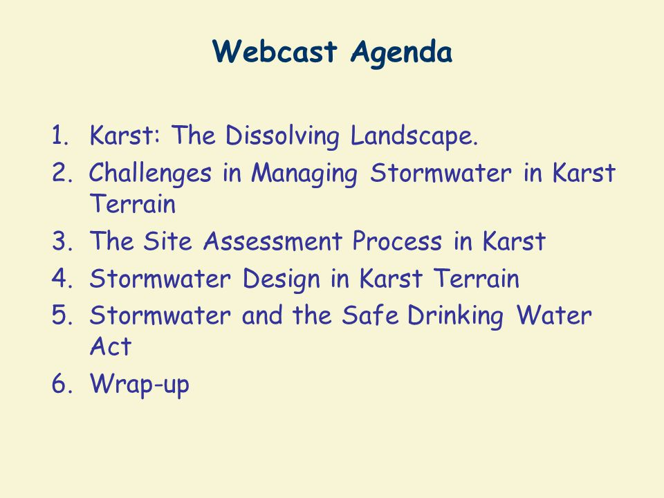 Constructed Wetland Design for Karst Will generally need liner to hold water Shallow, linear, and multiple cell configurations are preferred Regenerative conveyance systems are worth testing (with sand and organic lenses) Use them leading to or in close proximity to KSPs ADEQUATE?