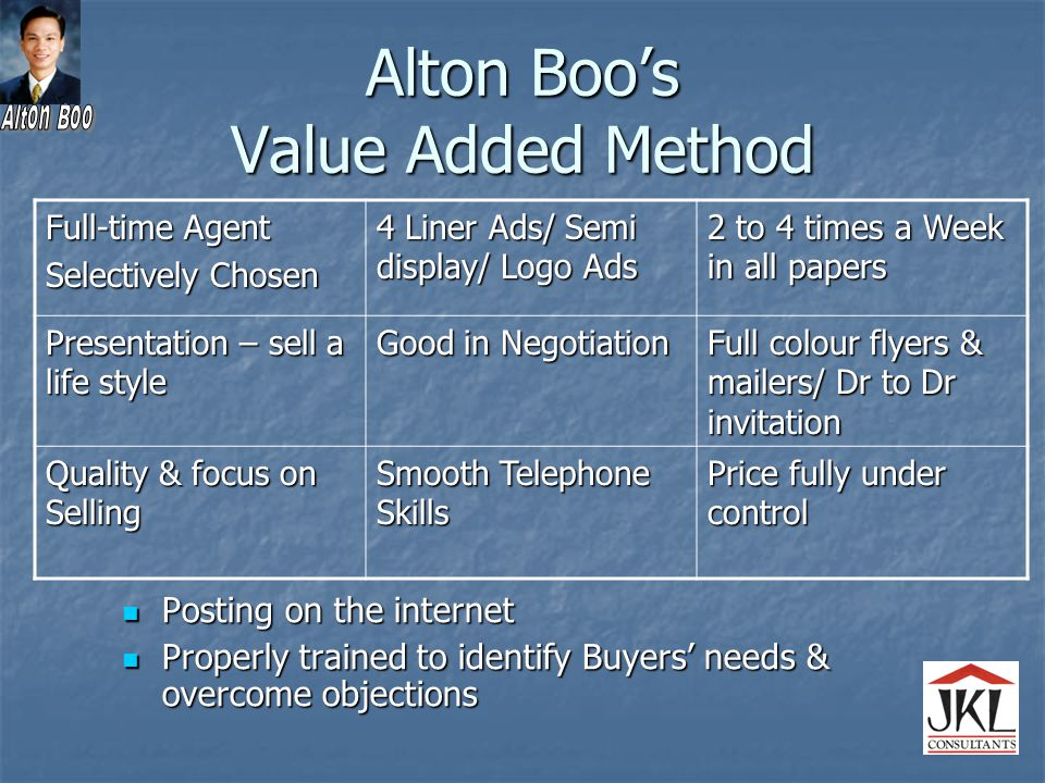 Alton Boo's Value Added Method Posting on the internet Posting on the internet Properly trained to identify Buyers' needs & overcome objections Properly trained to identify Buyers' needs & overcome objections Full-time Agent Selectively Chosen 4 Liner Ads/ Semi display/ Logo Ads 2 to 4 times a Week in all papers Presentation – sell a life style Good in Negotiation Full colour flyers & mailers/ Dr to Dr invitation Quality & focus on Selling Smooth Telephone Skills Price fully under control