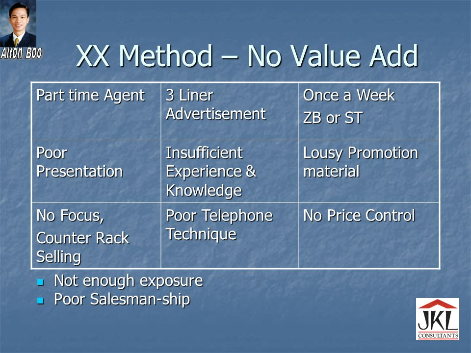XX Method – No Value Add Not enough exposure Not enough exposure Poor Salesman-ship Poor Salesman-ship Part time Agent 3 Liner Advertisement Once a Week ZB or ST Poor Presentation Insufficient Experience & Knowledge Lousy Promotion material No Focus, Counter Rack Selling Poor Telephone Technique No Price Control