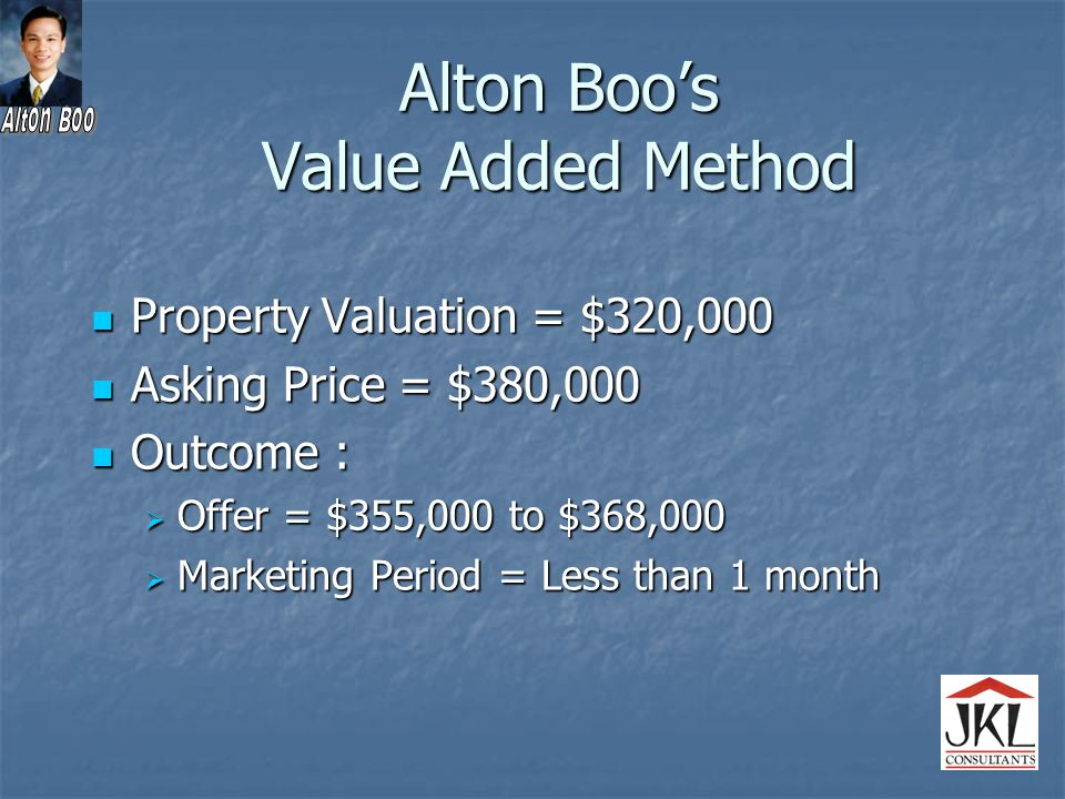Alton Boo's Value Added Method Property Valuation = $320,000 Property Valuation = $320,000 Asking Price = $380,000 Asking Price = $380,000 Outcome : Outcome :  Offer = $355,000 to $368,000  Marketing Period = Less than 1 month