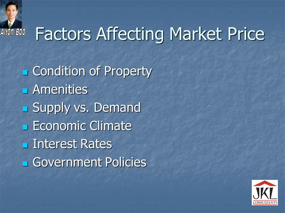 Factors Affecting Market Price Condition of Property Condition of Property Amenities Amenities Supply vs.