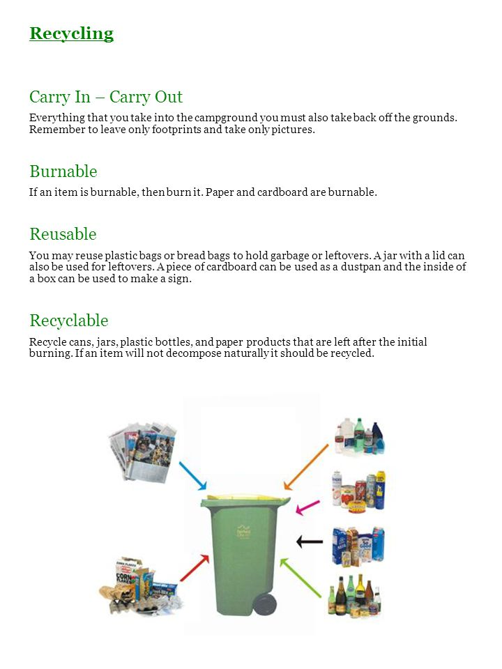Recycling Carry In – Carry Out Everything that you take into the campground you must also take back off the grounds. Remember to leave only footprints