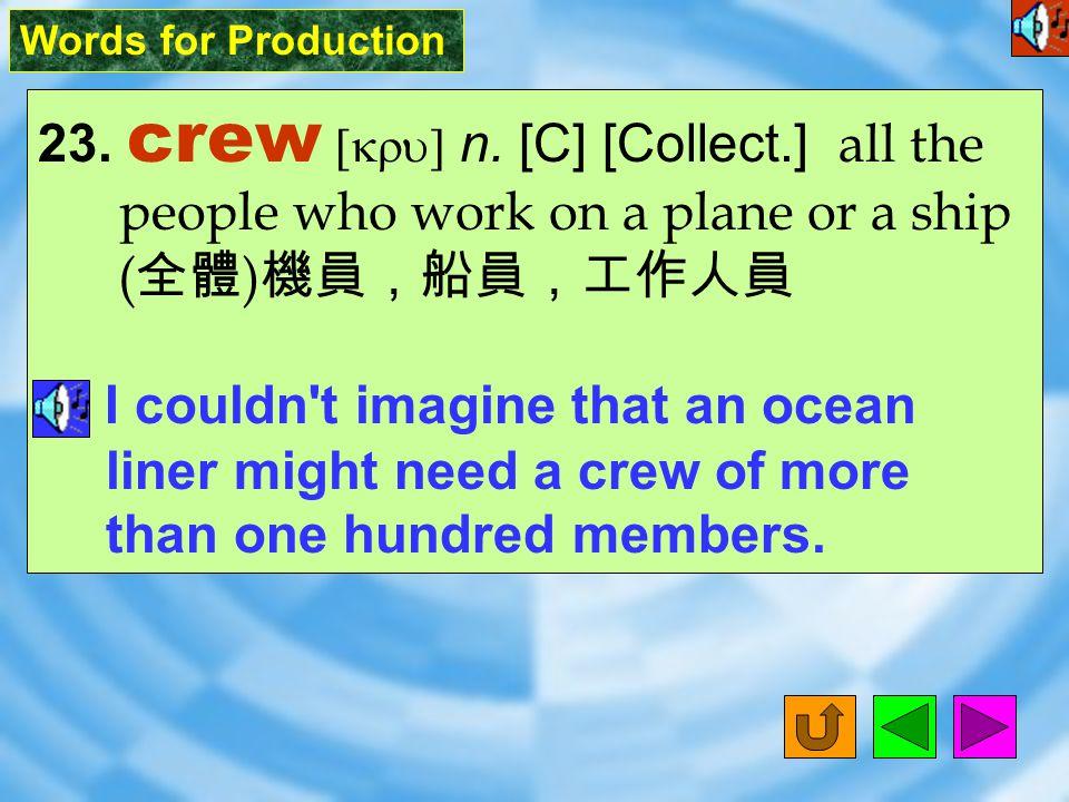 Words for Production 22. spokesperson [`spoks&p3sN] n.
