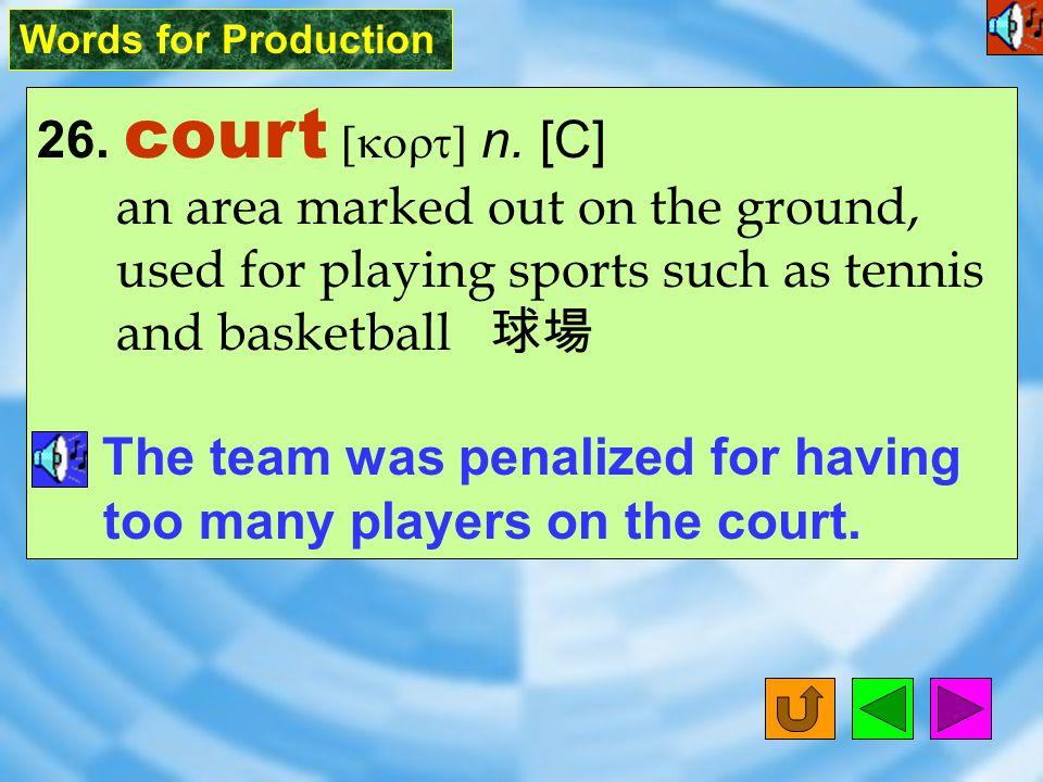 Words for Production 25. setting [`sEtI9] n. [C] (usu.