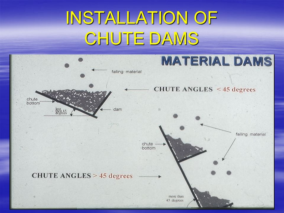 INSTALLATION OF CHUTE DAMS