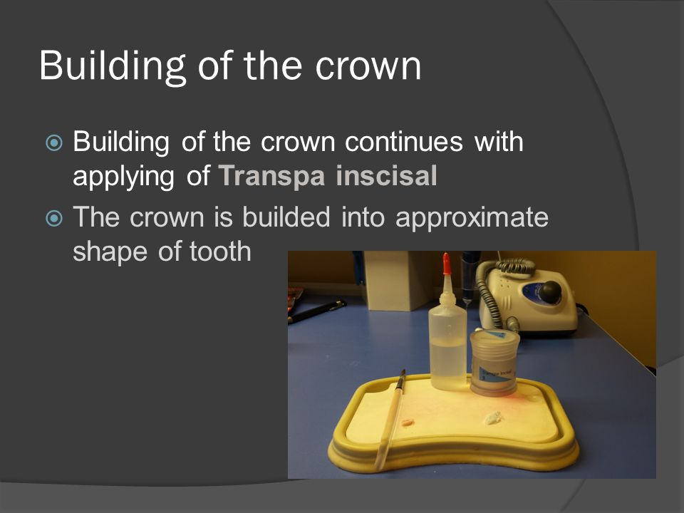 Building of the crown  Building of the crown continues with applying of Transpa inscisal  The crown is builded into approximate shape of tooth